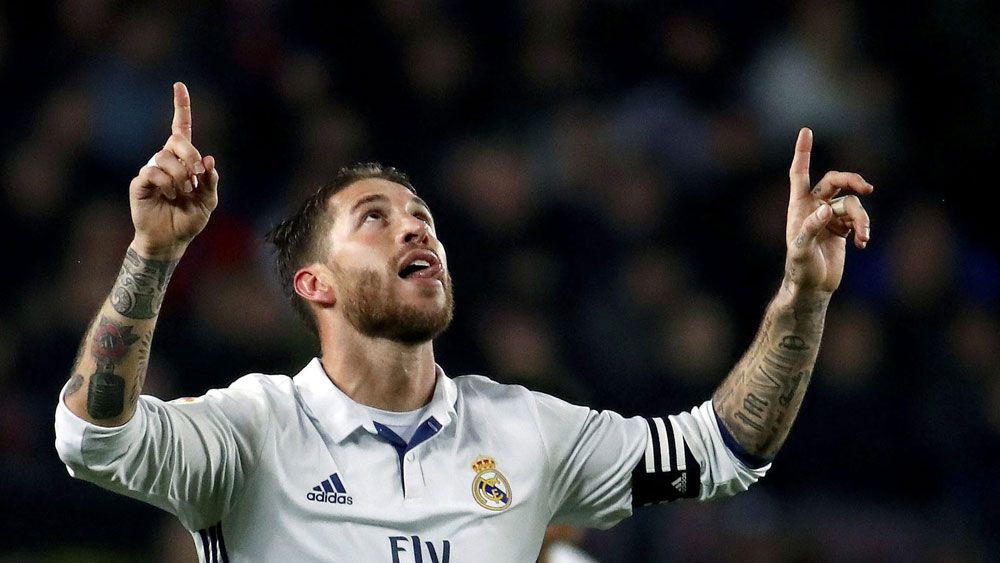 Sergio Ramos celebrates after scoring for Real Madrid.(AAP)