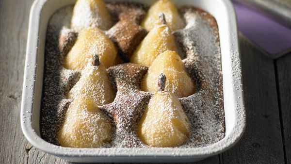Poached pear pudding