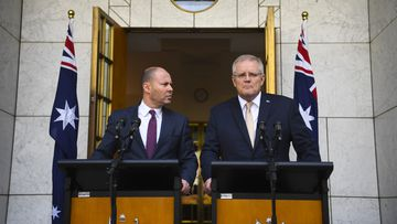 Australian Prime Minister Scott Morrison and Australian Treasurer Josh Frydenberg reveal $17.6b stimulus package.