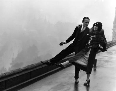 Fred and Adele Astaire pictured dancing together on the roof of the Savoy Hotel in 1926.