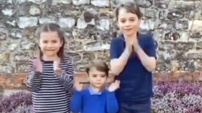 Princess Charlotte, Prince Louis and Prince George clap for carers coronavirus at Anmer Hall in Norfolk