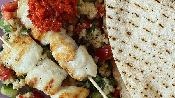 Fish kebabs with flat breads, quick tabbouleh and capsicum dip