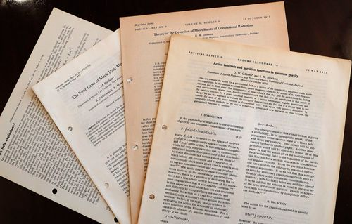 """Hawking's 1965 Cambridge University thesis, """"Properties of Expanding Universes"""", sold for 584,750 pounds, more than three times its pre-sale estimate, in the online auction."""