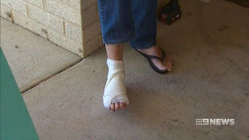 The 86-year-old broke several bones in his foot during the attack. (9NEWS)