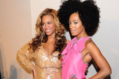 Beyonce and Solange Knowles at the J.Crew Spring 2012 fashion show during Mercedes-Benz Fashion Week in New York.