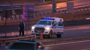 Part of the Sydney Harbour Bridge is closed after a man was found injured on the road. Picture: 9NEWS