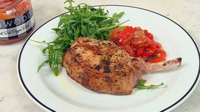 "Recipe:&nbsp;<a href=""http://kitchen.nine.com.au/2016/05/19/11/20/pork-chop-with-red-pepper-relish"" target=""_top"" draggable=""false"">Pork chop with red pepper relish</a>"