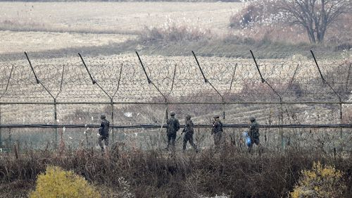 South Korean soldiers parol in Imjingak Park near the Demilitarized zone (DMZ) in Paju, Gyeonggi-do Province this month.