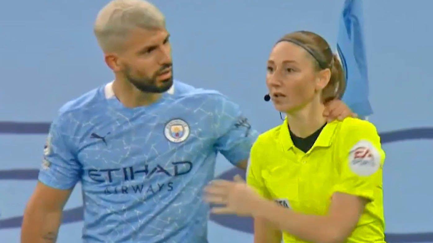 Sergio Aguero grabs a female assistant referee