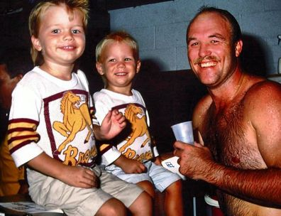 Lincoln Lewis, brother Mitchell Lewis, dad Wally Lewis, football game, Brisbane Broncos, throwback photo, Instagram