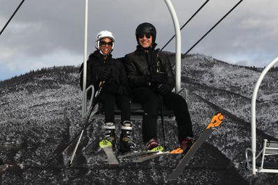 Avatar star Zoe Saldana hit the slopes at Aspen with her man Keith Britton.