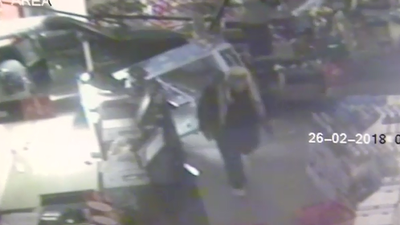 Robbers use car to smash through bottle shops