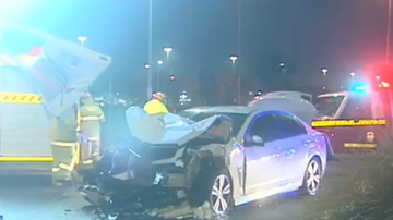 Police allege the off-duty officer returned a blood alcohol reading of 0.05mmol after the four car pile up.