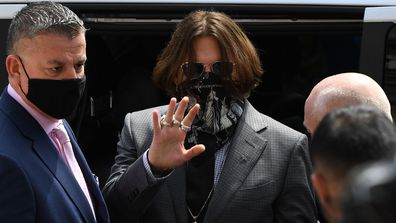 Johnny Depp arrives at Royal Courts of Justice, Strand on July 23, 2020 in London, England