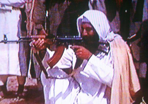 A screengrab of a video tape showing Osama Bin Laden in a Al Qaeda training camp. (Getty)