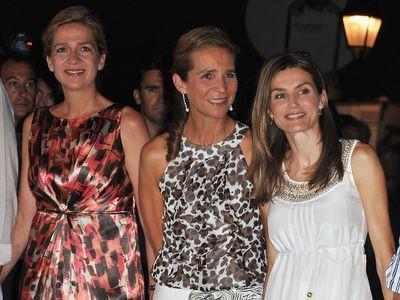 Spain's Queen Letizia with Princess Cristina and Princess Elena