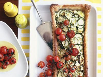 Zucchini and feta tart with roasted cherry tomatoes