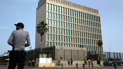 General view of the US Interests Section building in Havana, Cuba. (AAP)