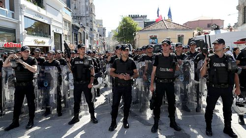 A heavy police presence was reported in the area in the hours leading up to the march. (AAP)