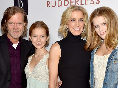 William H. Macy, Felicity Huffman,  Grace Macy, Sophia Macy, family photo, premiere