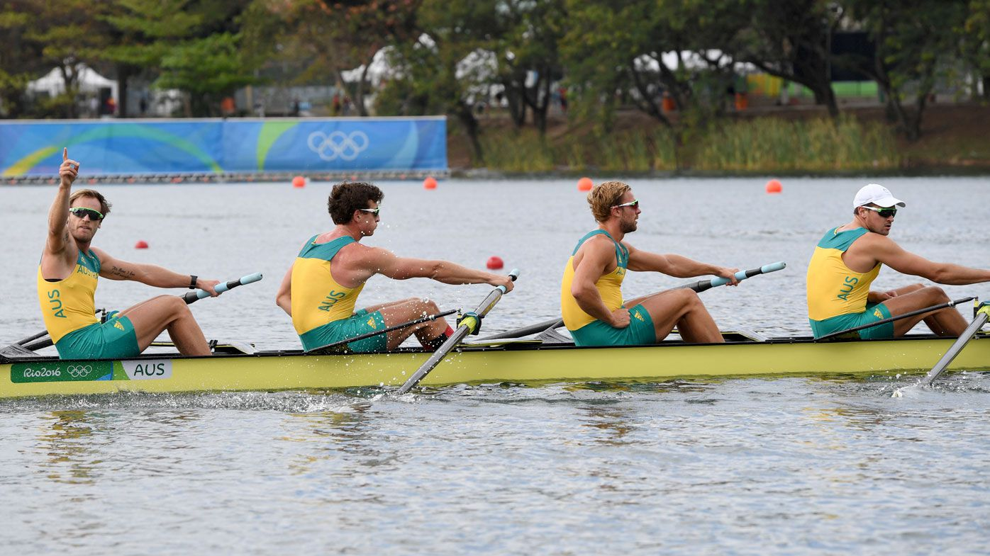Alexander Hill, Joshua Booth, Joshua Dunkey-Smith and William Lockwood of Australia in action. (AFP)