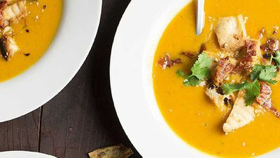 "Recipe:&nbsp;<a href=""http://kitchen.nine.com.au/2016/05/05/14/19/korma-and-butternut-soup-with-crispy-bacon-and-sesame-naan-croutons"" target=""_top"">Korma and butternut soup with crispy bacon and sesame naan croutons</a>"