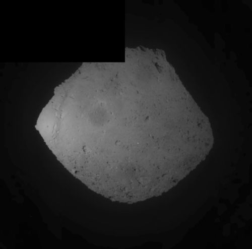 This image released by the Japan Aerospace Exploration Agency (JAXA) shows the asteroid Ryugu. Japan's space agency JAXA said its Hayabusa2 spacecraft released an explosive onto the asteroid to make a crater on its surface and collect underground samples.