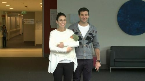New Zealand Prime Minister Jacinda Ardern with her partner Clarke Gayford and baby leaving hospital. Picture: TVNZ