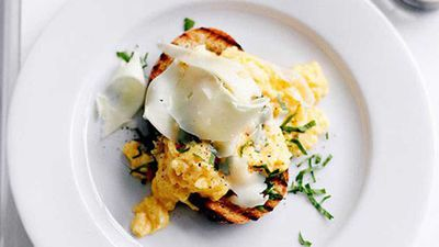 """Recipe: <a href=""""https://kitchen.nine.com.au/2016/05/16/13/00/eggs-on-toast-with-asiago"""" target=""""_top"""">Eggs on toast with asiago</a>"""
