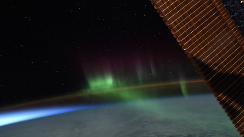 The seven-person ISS crew were treated to the rare sight  402km above the Earth.