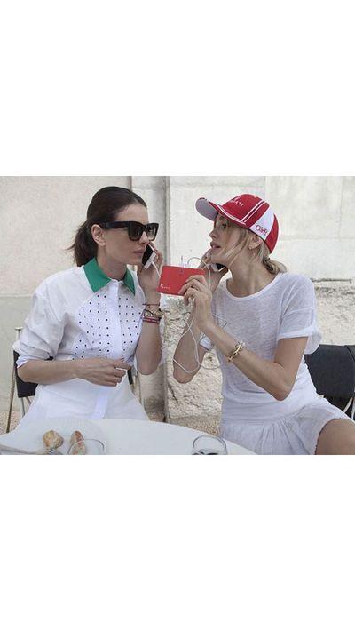 <p>A post-set Leila Yavari and Elena Perminova.</p>