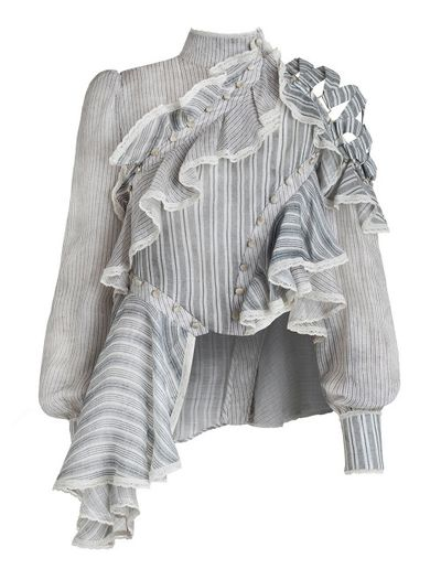 "Zimmermann Cavalier antique short, $805 <a href=""https://www.zimmermannwear.com/readytowear/clothing/tops/cavalier-antique-shirt-stripe.html"" target=""_blank"">(on sale)</a><br />"