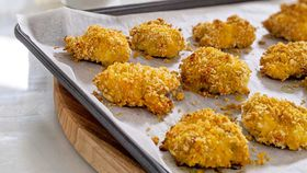 Easy, healthier, cheats chicken nugget bites with quick aioli