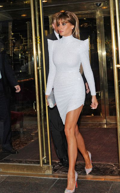 Melania Trump puts her best glittered foot forward in a Marc Bouwer Couturedress and Christian Louboutin heels at the 2012 Met Gala.