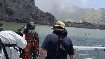 Police divers searching the waters near White Island off the coast of Whakatane, over the weekend.