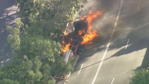 A truck fire has closed a road in south Brisbane.