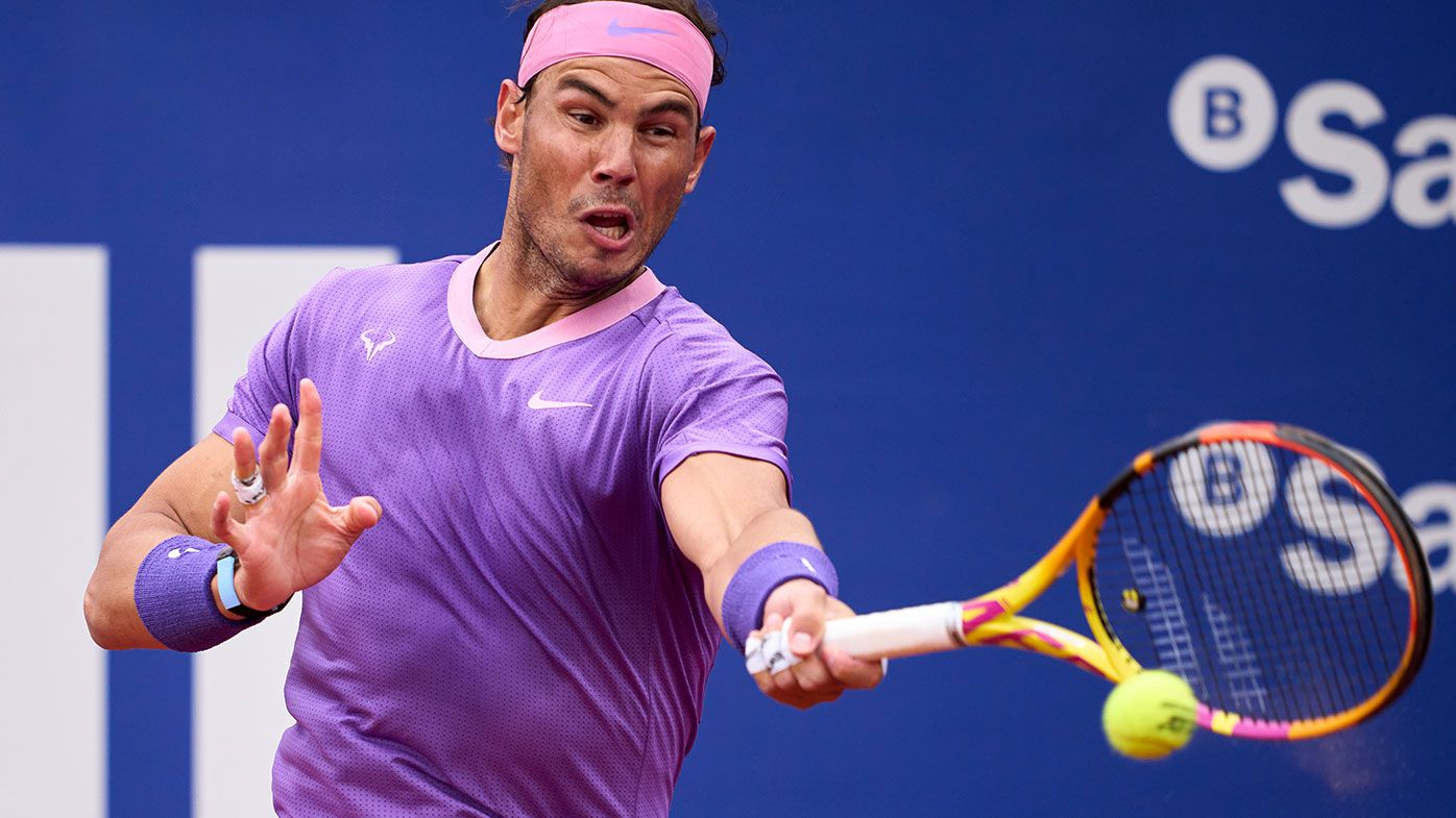 Rafael Nadal of Spain plays a forehand against Ilya Ivashka of Belarus in their second round match during day three of the Barcelona Open.