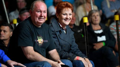 Pauline Hanson watches the boxing inside the Fred Brophy's Boxing Tent. (AAP)