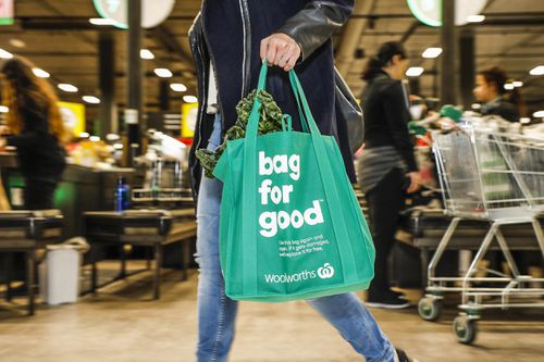 The decision comes as a backflip on a plastic bag ban Woolworths put in place nine days ago. Picture: AAP.