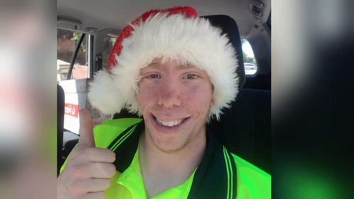 Adam Joseph, 21, who works part time at Australia Post spent Christmas delivering presents.
