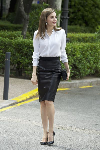Queen Letizia in a  Roberto Verino leather pencil skirt at the opening of the 'Escripta Tesoros Manuscritos de la Universidad de Salamanca' exhibition at the National Library in Madrid, Spain, May 2017