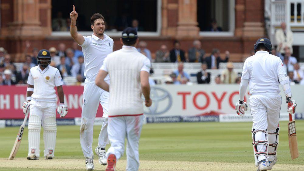 England pace bowler Steve Finn celebrates a wicket against Sri Lanka. (AAP)