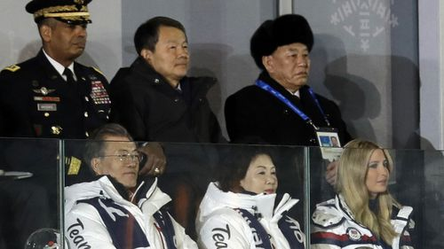South Korean President Moon Jae In at Closing Ceremony with Ivanka Trump and Kim Yong Chol, vice chairman of North Korea's ruling Workers' Party Central Committee (AAP)