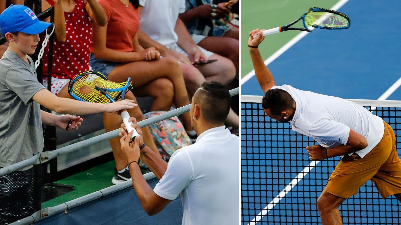 Nick Kyrgios had a few racquet fatalities en route to his Citi Open win