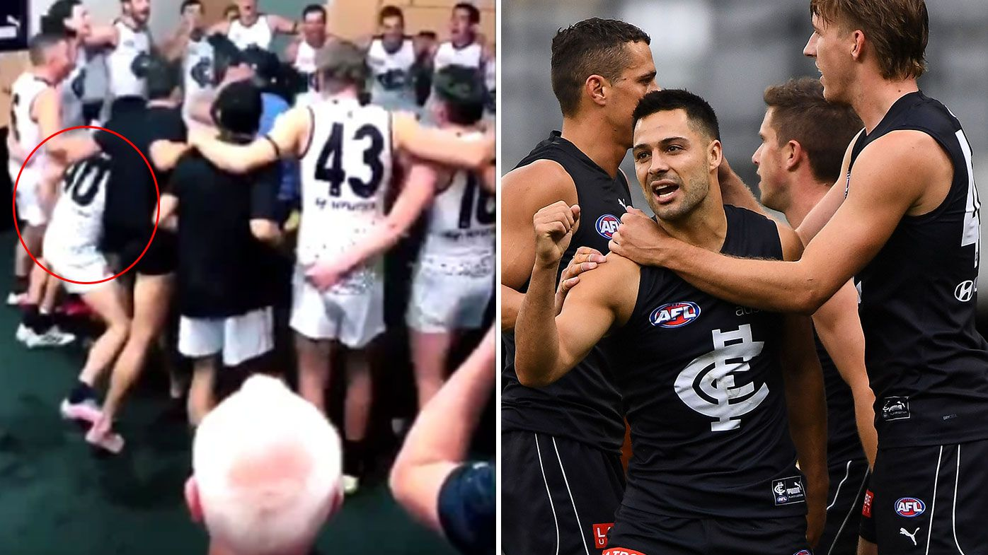 Carlton issues apology for 'unacceptable' touching of Amazon cameraman during team song