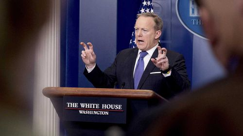 Sean Spicer at the podium. (AAP)
