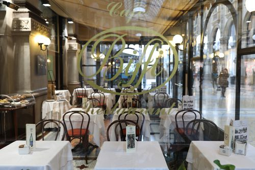 Bici a very famous restaurant usually fully booked at lunch time is seen empty in the city centre on February 26, 2020 in Milan, Italy.