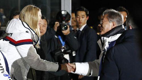 Ivanka Trump meets South Korean President Moon Jae In at Closing Ceremony (AAP)