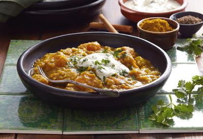 Curried butternut pumpkin lentils