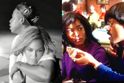 """Bey and Z were criticised for referencing an abusive scene from the 1993 biopic of singer Tina Turner's life, <i>What's Love Got To Do With It</i>.<br/><br/>""""I am Ike Turner...Baby know I don't play. Now eat the cake, Anna Mae. Said eat the Cake, Anna Mae,"""" Jay sings, with Bey mouthing the words back at him in the video. Critics called the line 'insensitive' and many questioned Beyonce's avowed status as a feminist. <br/><br/>Neither Bey or Jay have explained the lyric.<br/><br/>Image: Sony Music/Touchstone Pictures"""